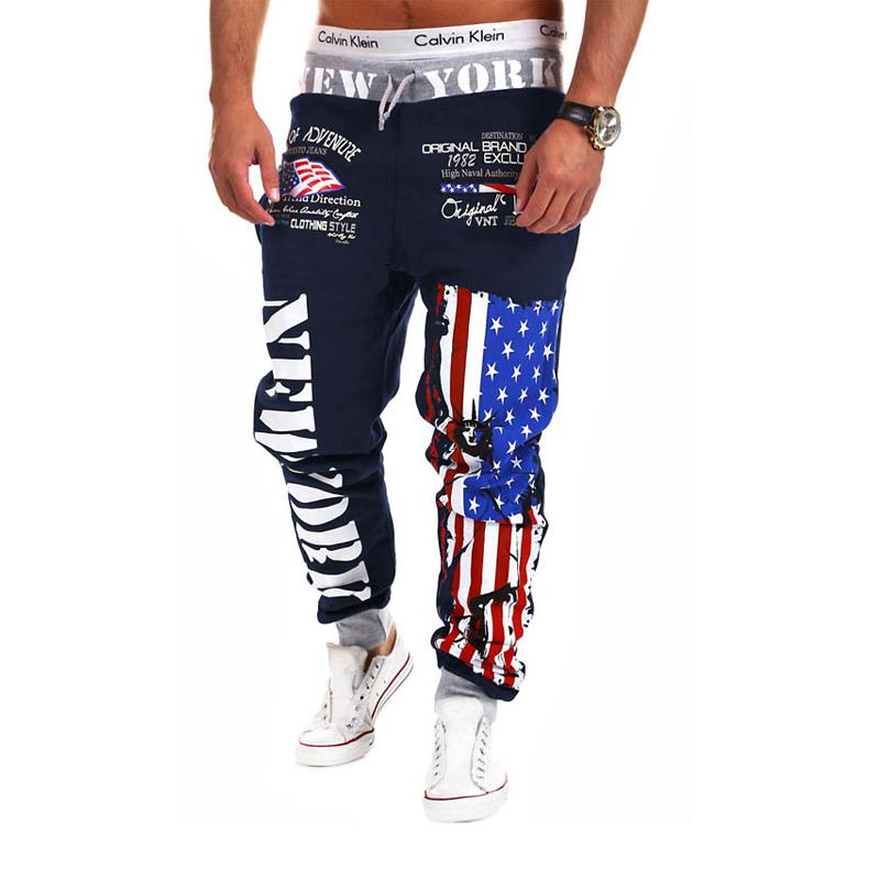 ... Casuales Pantalones Joggers Para Hombre Bandera Americana Estampado De Estrellas  Pantalones Monos Pantalones De Chándal Pantalones Harem Hip Hop A ... a65be4f0475