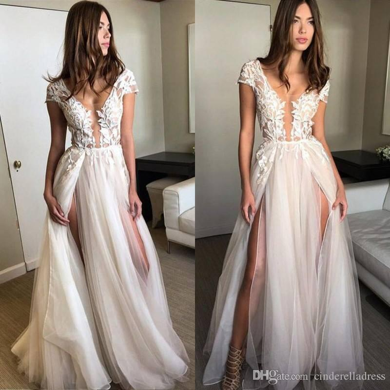 39f3719eec6c Cap Sleeve Deep V-neck Bridal Gowns With Appliques Sexy Split 2019 Tulle  See Through Wedding Dresses BA7757 Beach Wedding Dresses Sheer Wedding Gowns  2019 ...