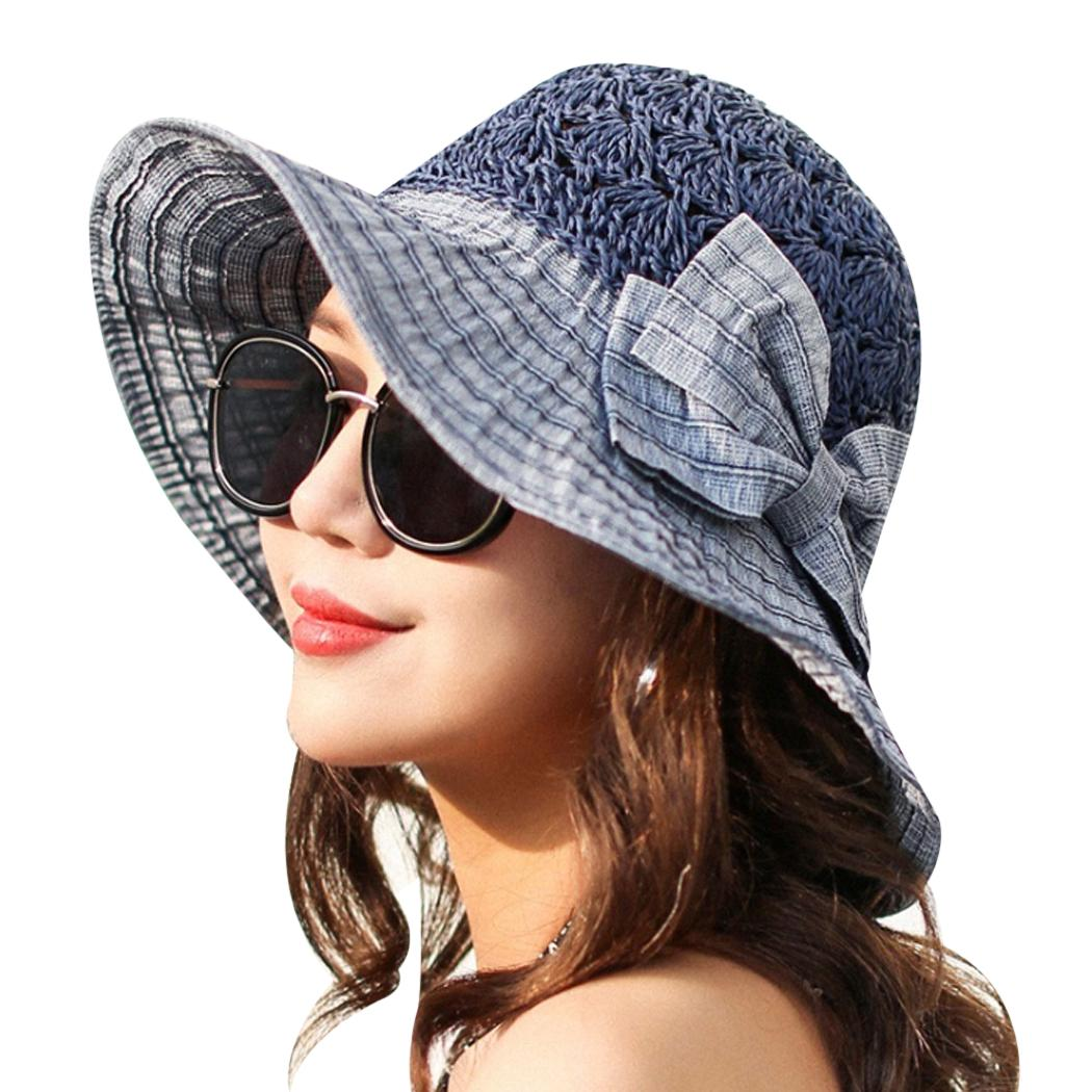 New 2018 Fashion Summer Hats For Women Bowknot Wide Brim Beach Sun Hat  Female Sunscreen Straw Visor Caps Outdooor Bucket Hats Mens Caps Crazy Hats  From ... 710be7ba909