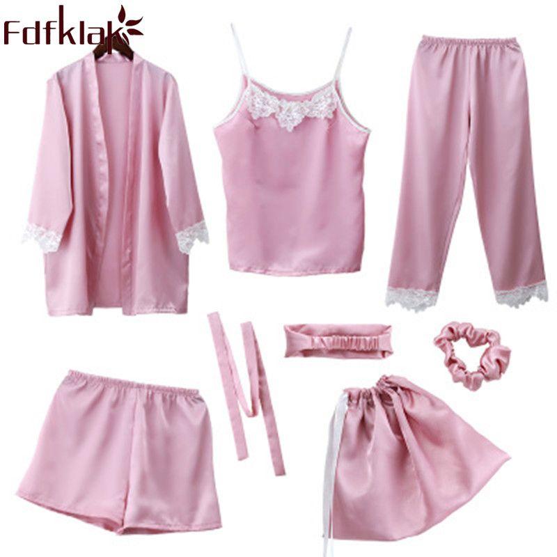 ba7c076a5 2019 Fdfklak Women s Pajamas Set Spring Summer Pijama Sexy Pyjama Femme  Silk Night Suit Sleepwear Sets Home Clothes Q1191 From Zijinflo