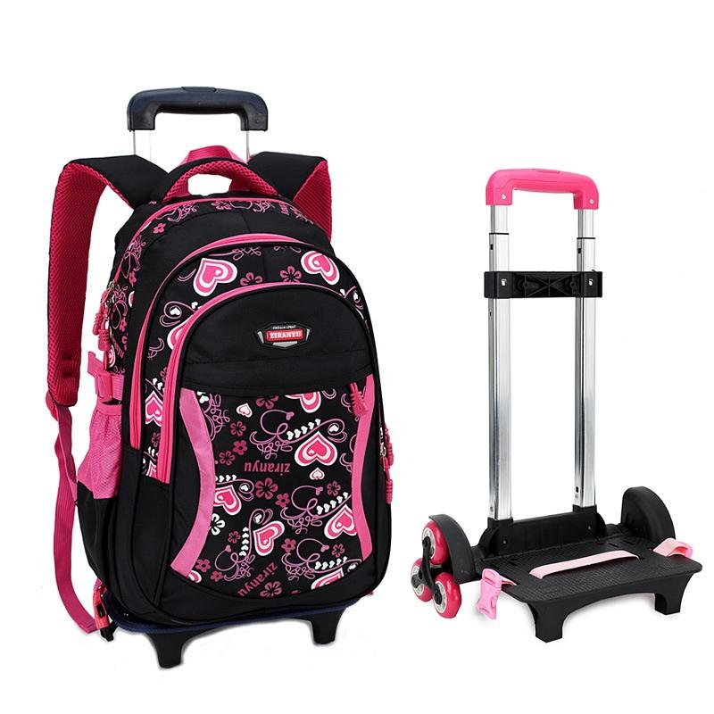 e2325c268e06 Children Trolley School Bag Backpack Wheeled School Bag For Grils Kids Wheel  Schoolbag Student Backpacks Bags Rucksack Backpack Leather Backpack From ...