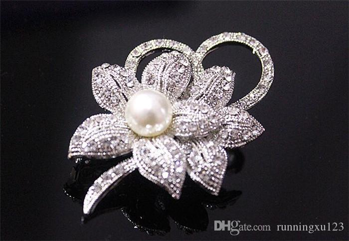 Vintage Look White Gold Clear Rhinestone Crystal Diamante Cream Pearl Center Flower and Bow Wedding Bouquet Brooch R088