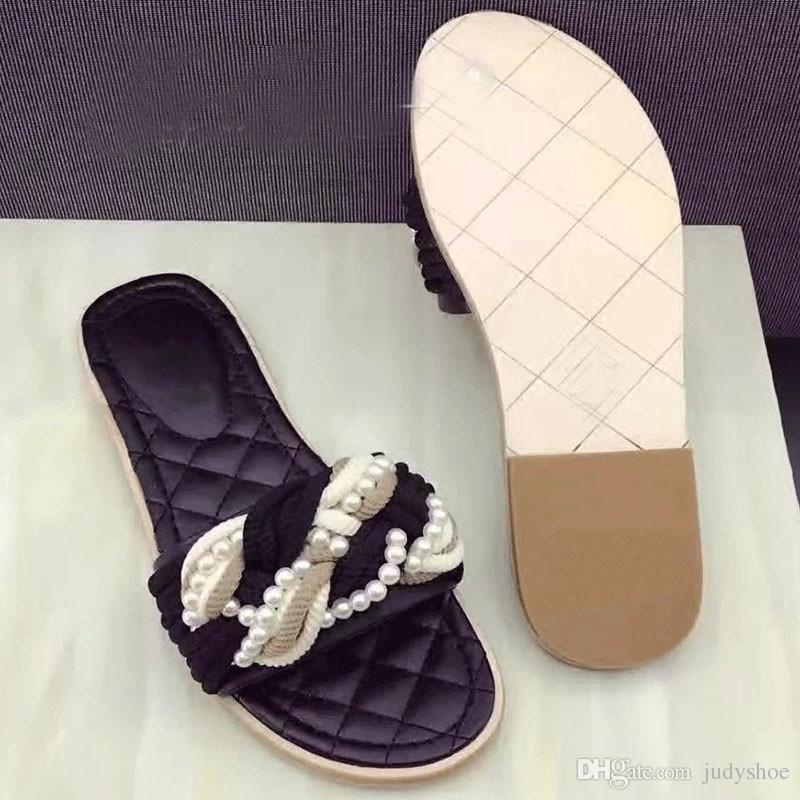 Classic estate Pantofole donna rosso nero perlato piatto Tacchi Muli incrociato infradito 2018 scarpe da spiaggia chaussure femme