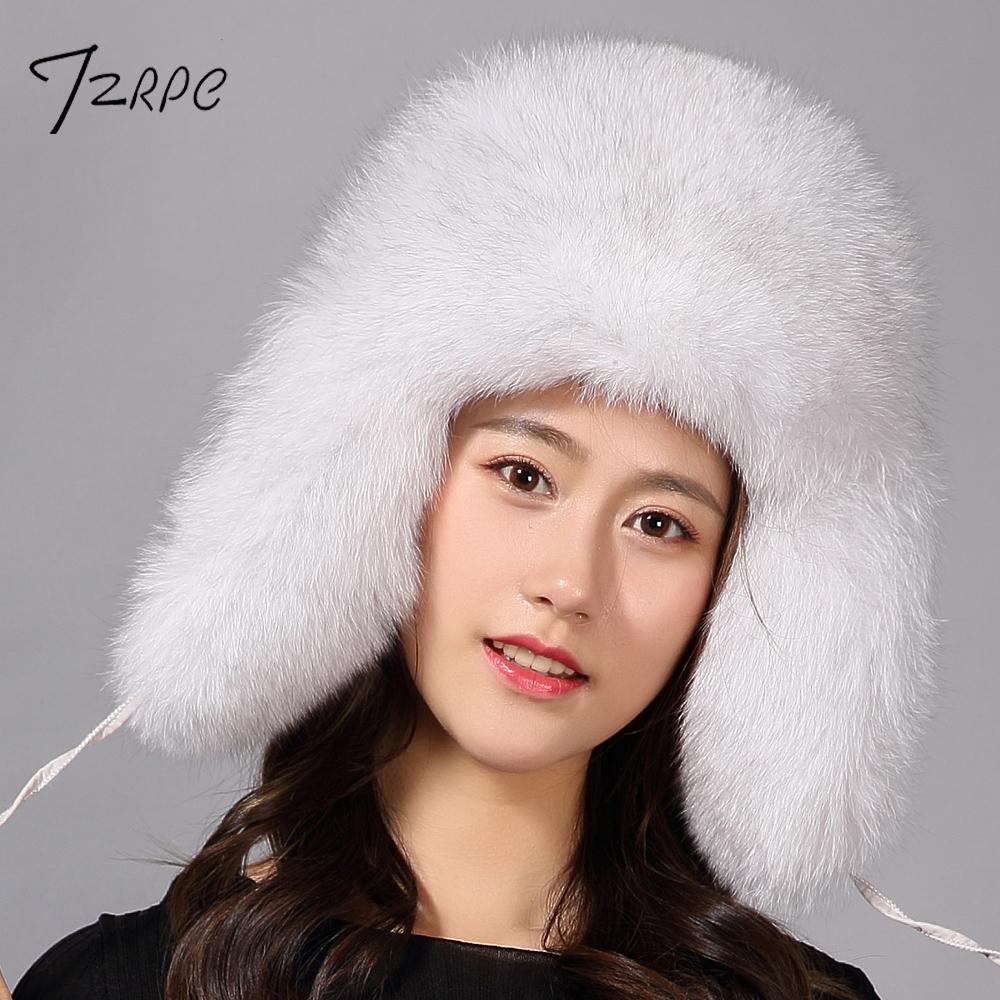fc2d7147e445f Compre TZRPC Sombrero De Piel Para Mujeres Mapache Natural Fox Fur Ruso  Ushanka Sombreros Invierno Grueso Oídos Calientes Bomber Cap Fashion Negro  Nueva ...