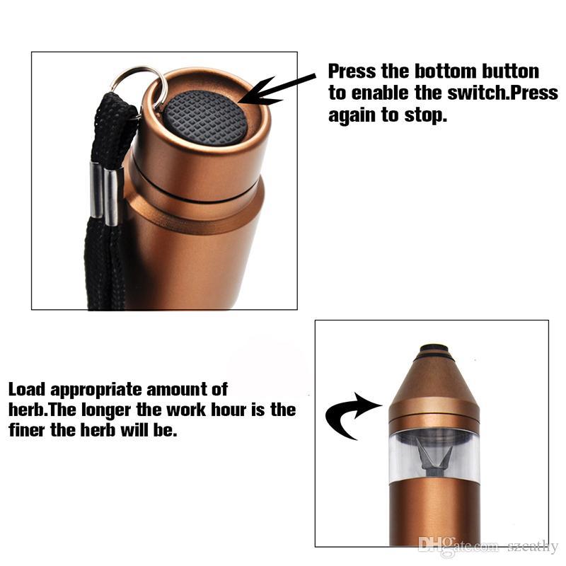 완전 자동 전자 그라인더 펜 스타일 허브 분쇄기 마이크로 USB 충전 포트와 고급 알루미늄 합금 소재 내장 배터리
