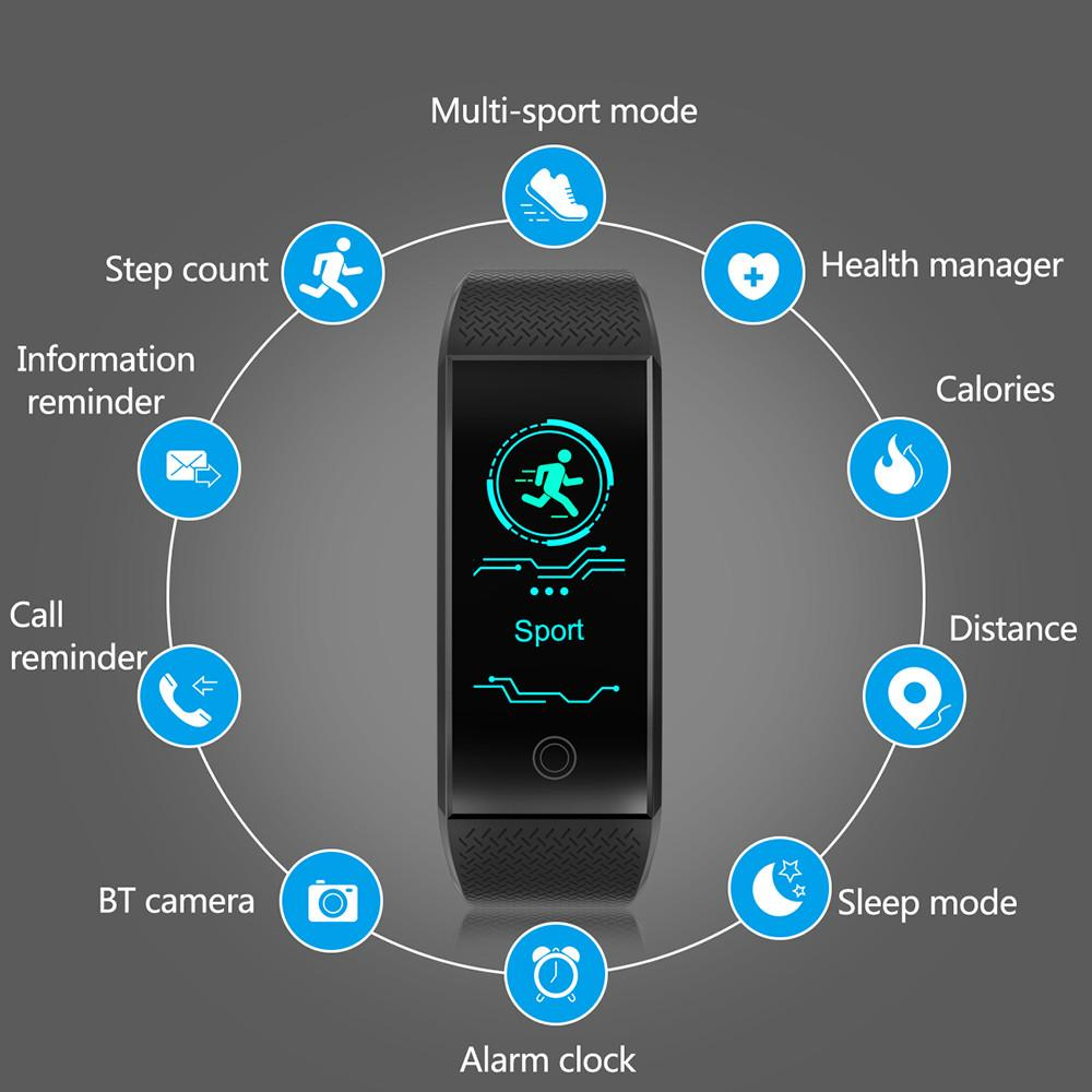 QW18 Smart Watch Sports Fitness Activity Heart Rate Tracker Blood Pressure  Watch Support for SMS/WhatsApp/ Facebook/ Twitter 30