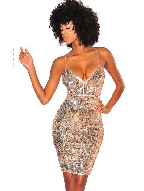 2019 2018 Womens Gold Sequin Dress Sexy V Neck Backless Spaghetti ... 8006039438