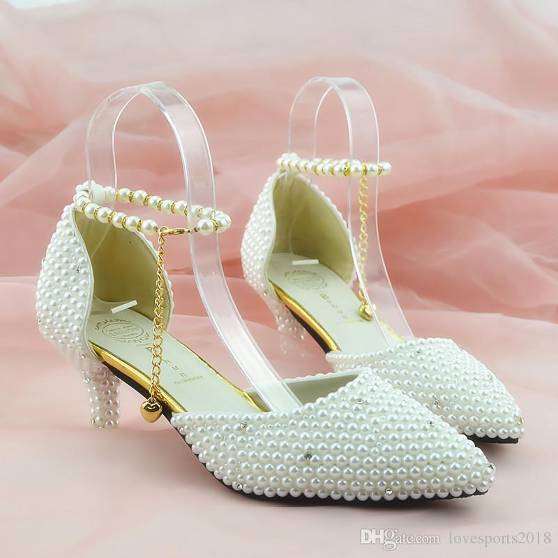Nuevo Elegante Hecho A De Zapatos Mano Las Bombas Del Dedo Pie Fashionl Mujeres Boda Sandalias Puntiagudo Tacón Alto Señora Perlas Blancas 5q3c4ARjLS