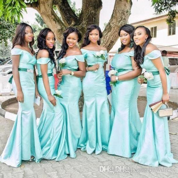 2018 Sexy Off-Shoulder African Mint Green Bridesmaid Dresses Pearls Beads Ribbon Draped Sash Mermaid Evening Dresses Formal Dresses