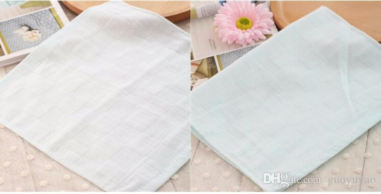 Wholesale- Teague cotton double gauze handkerchief baby bibs small square solid color towel A-XBK-KSJ014-4