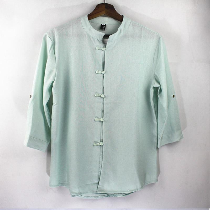 55d546a3397 Mens Linen Kimono Shirts 2017 Summer Slim Fit Casual Chinese Shirt ...