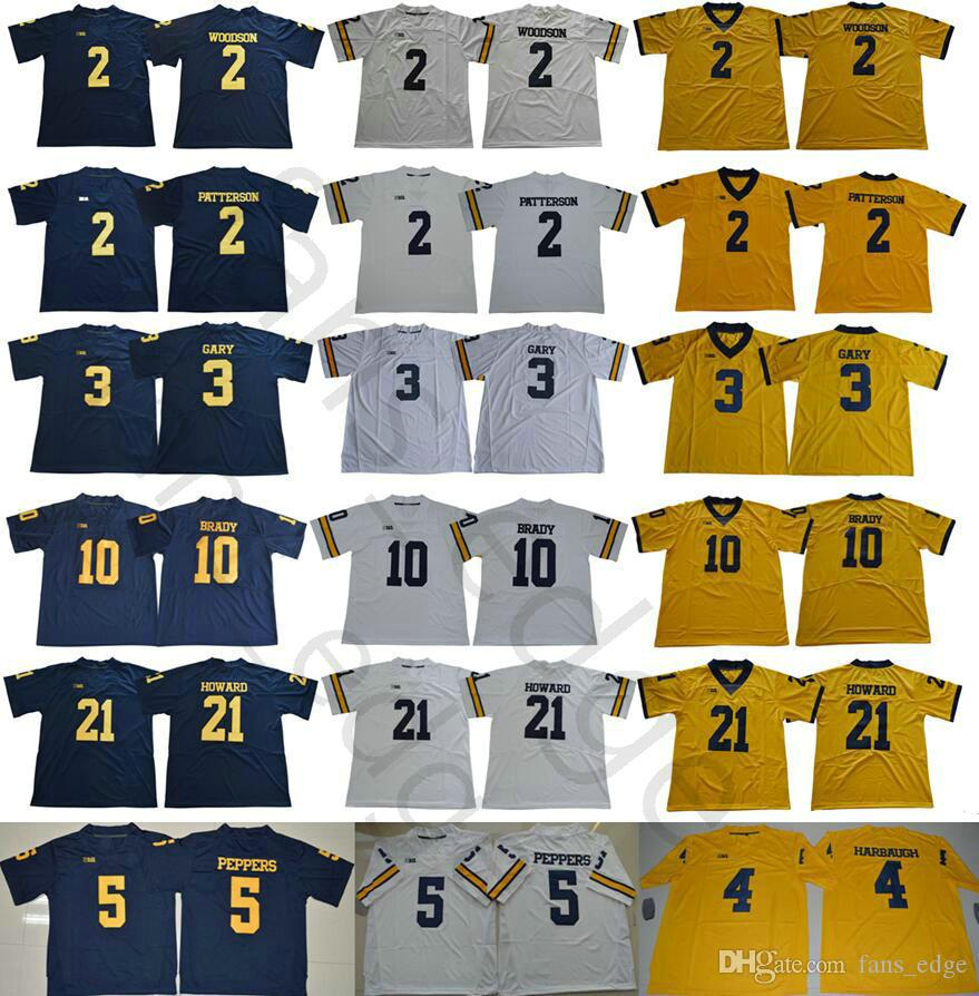 2019 Michigan Wolverines College 2 Charles Woodson Shea Patterson 4 Jim  Harbaugh 5 Jabrill Peppers 21 Desmond Howard 10 Tom Brady Football Jersey  From ... 80c10ec28