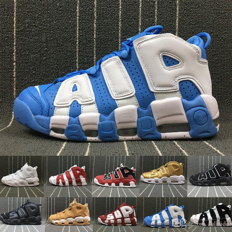the latest 3bc93 6eab2 Compre Zapatillas De Baloncesto 2019 More Uptempo Para Hombre, Tricolor De  Alta Calidad Scottie Pippen PE Triple White Athletic Sport Sneakers US36 46  A ...