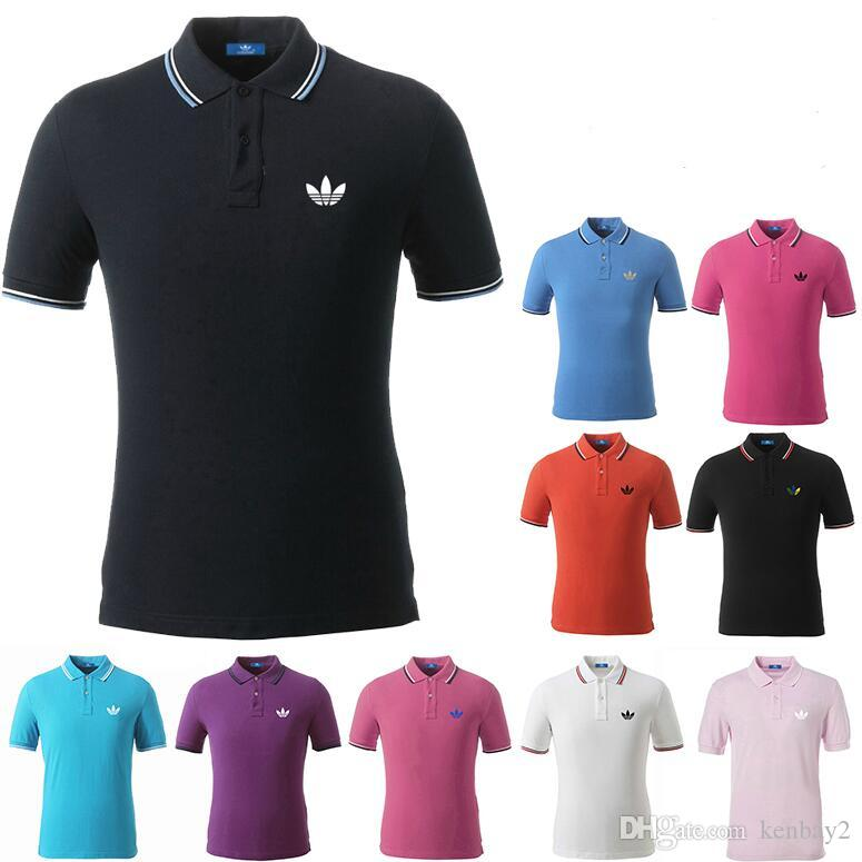 ca56acbf9f3 2019 Wholesale Solid Polo Men Shirts Casual Luxury Brand Cotton Polo Shirts  Embroidery Logo Short Sleeved Sports Golf Tshirts Tops Tees From Kenbay2,  ...