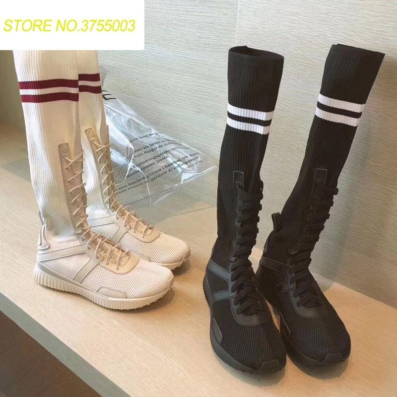 bf081d341a Classic Casual Sneakers Flat Boots Women Summer Autumn Winter Boots Knee  High Creeper Heels Stretch Fabric Ladies Mens Chelsea Boots Black Combat  Boots From ...