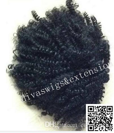 Drawstring Ponytail Extension, African American Black Short High Afro Kinky Curly Hair Extension, Human Puff Hair pony tail For Black Women
