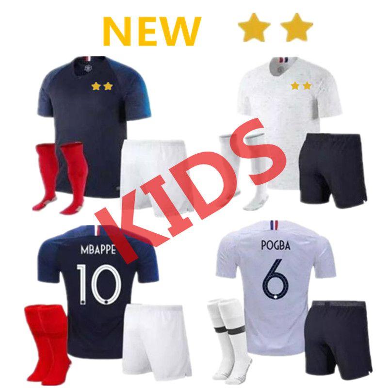 sale retailer 458fe 74919 New 2 Star 18 19 kids kit pogba soccer Jersey 2018 World Cup PAYET DEMBELE  MBAPPE GRIEZMANN KANTE Children football shirts