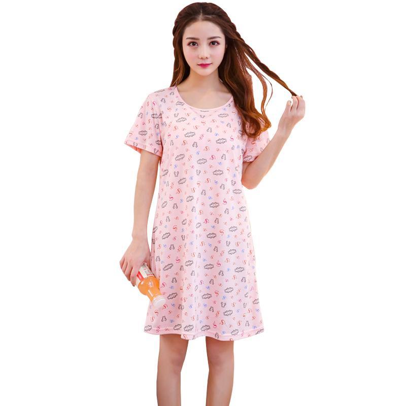 2019 New Summer Modal Women Nightgowns Short Sleeve Removable Bra ... 51984e8bba9f