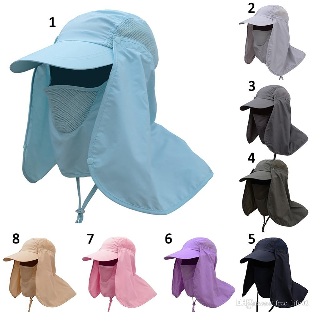 2019 Wholesale Outdoor Sport Hiking Visor Hat UV Protection Face Neck Cover  Fishing Sun Protect Cap Best Quality From Free life02 60f2ae006d1