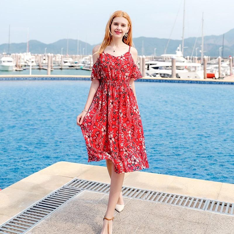 46735471dc53 Shoulder Exposed Sexy Lotus Sleeve Skirt Red Floral Print Beach Dress New  Fashion Button Double Party Braces Dresses Evening Wear Dresses Cute  Cocktail ...