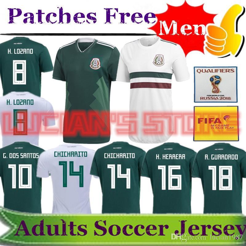 2018 Copa Del Mundo México Jerseys De Fútbol Chicharito Lozano Ayala Dos  Santos Herrera Layun Jersey Auténtico Selección Mexicana De Local Visitante  Por ... 56cca7c68fec7