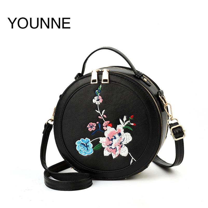 afba396b320a YOUNNE Women Handbags Crossbody Bag Round Leather Circular Shoulder Bag  Floral For Girls Cute Handbag Top Handle Handbags 2018 Satchel Clutch Bags  From ...