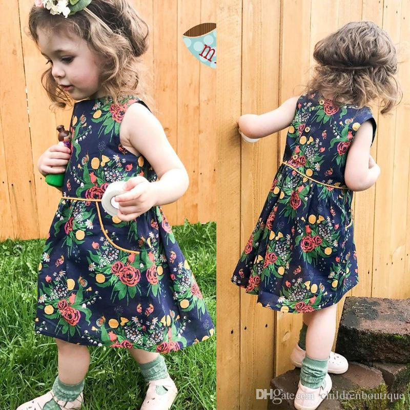 1a6d94067b5 2019 Baby Dress 2018 Summer Toddler Clothing Baby Kids Girls Flower  Princess Dress Beach Sundress Baby Girls Clothes Boutique Girls Clothing  From ...