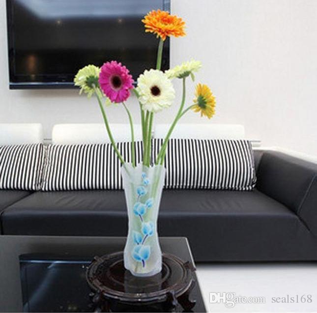 DHL Sıcak Pvc Katlanabilir Vazolar Katlanabilir Su Torbası Plastik Düğün Parti Vazolar Ev Süsler Dekorasyon Tablletop Vazo 27 * 12 cm HH7-1075