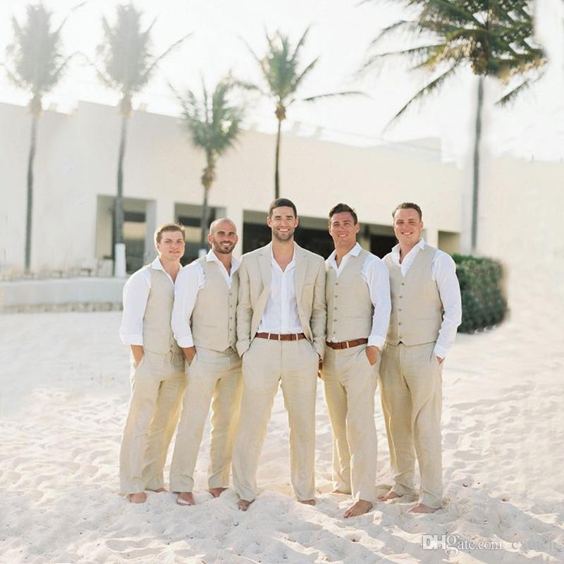 Khaki Linen Beach Wedding Men Suits Casual Custom Made Groom Tuxedo ...