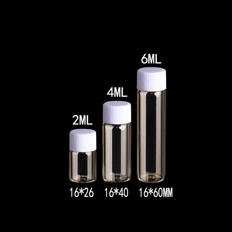 2ml 4ml 6ml Glass Bottles With Plastic Screw Cap Transparent Clear Mini Vials Plastic Bottles Jars Cosmetic Containers