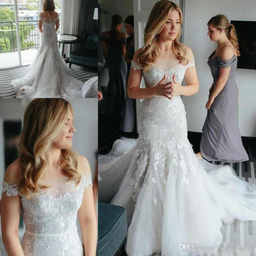 compre magníficos vestidos de novia de la sirena del cordón con el