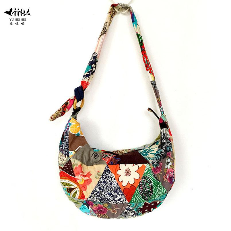 0f5f3470228a Unique Patchwork Handmade Sling Crossbody Messenger Shoulder Bag Women  Bohemian Hippie Cotton Canvas Bags Name Brand Purses Overnight Bags From  Murie