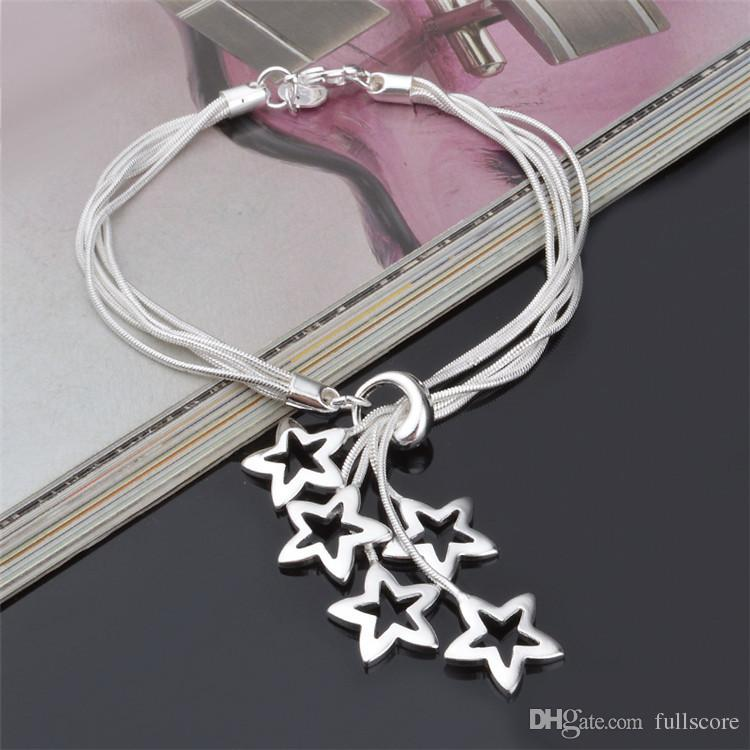 Cute 5 Star Tassel Design Female Bracelets Jewelry Fashion Silver 925 Bracelet For Women Party Accessories Hot Girl Lady Gift