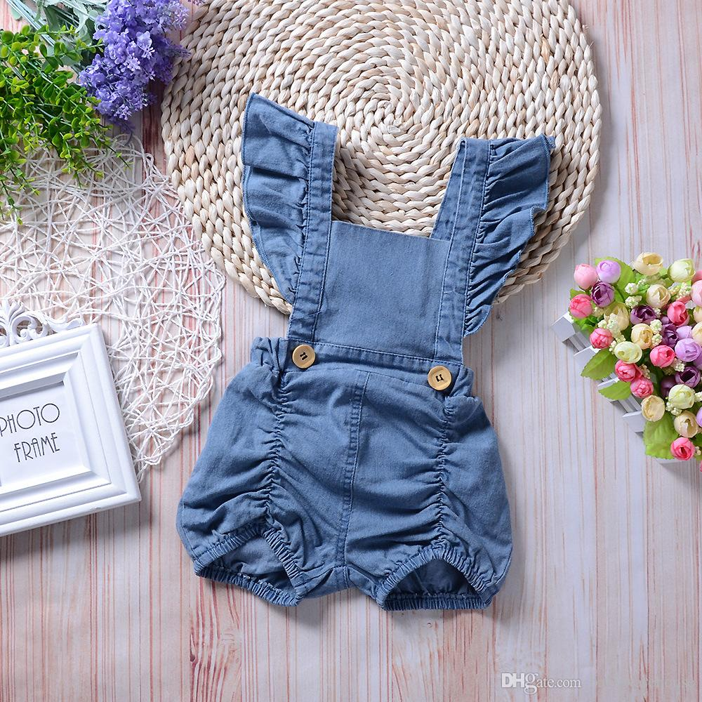 3cb05bc1cce5 2019 2018 Summer Newborn Clothes Baby Girls Ruffle Romper Jumpsuit Denim  Jeans Sunsuit Outfits Baby Clothing Infant Toddler Clothes Kids Boutique  From ...