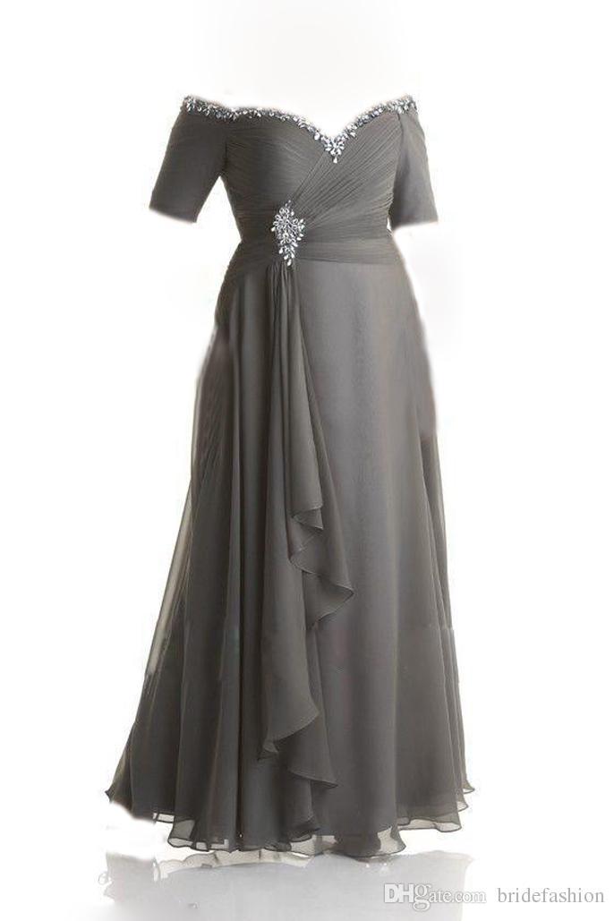 Custom Made Plus Size Vestidos Desgaste da Noite Lantejoulas Talão Off-Ombro Ruched Cinza Chiffon Vestido De Baile Mãe Dos Noivos Vestidos de Tornozelo