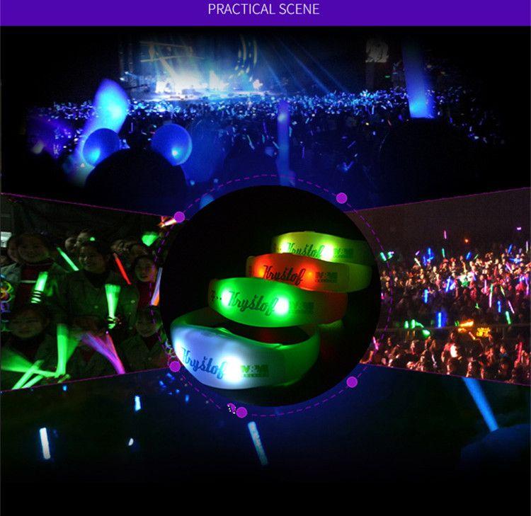 Super Cool Remote Control Led Flashing Bracelet Custom Logo Light Up Wristband Club Party Concert Bar Cheer Luminous Hand Ring Glow Stick