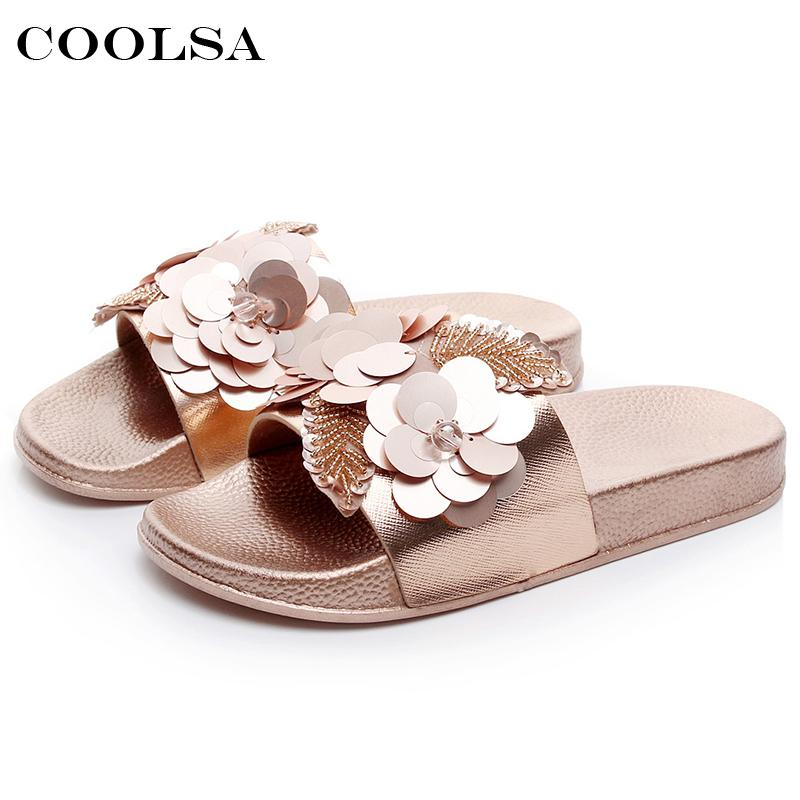 8be1a31279c033 Coolsa Summer Women Beach Slippers Flowers Bling Pearl Sandals Flat Non  Slip Ladies Sequins Slides Home Flip Flops Casual Shoes Shoe Shops Formal  Shoes From ...