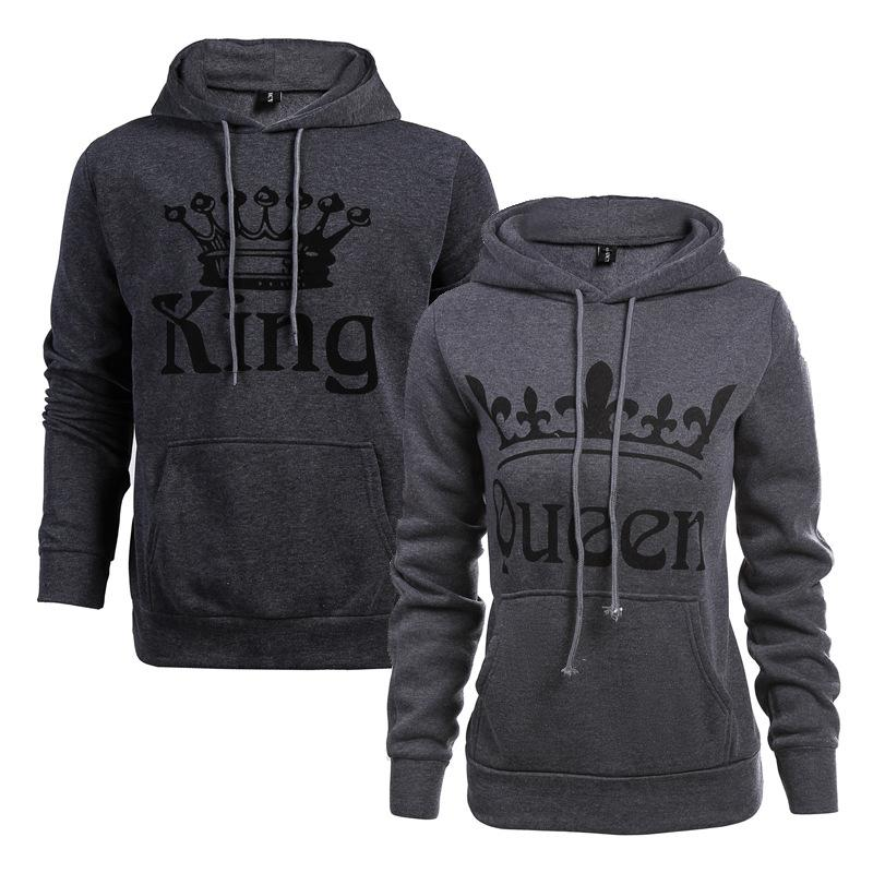 3a828fdc 2019 Explosions Women KING QUEEN Letters Printed Hooded Fleece Long Sleeved  Hood Lovers Baseball Clothing Sweater From Jmmikico, $29.15 | DHgate.Com