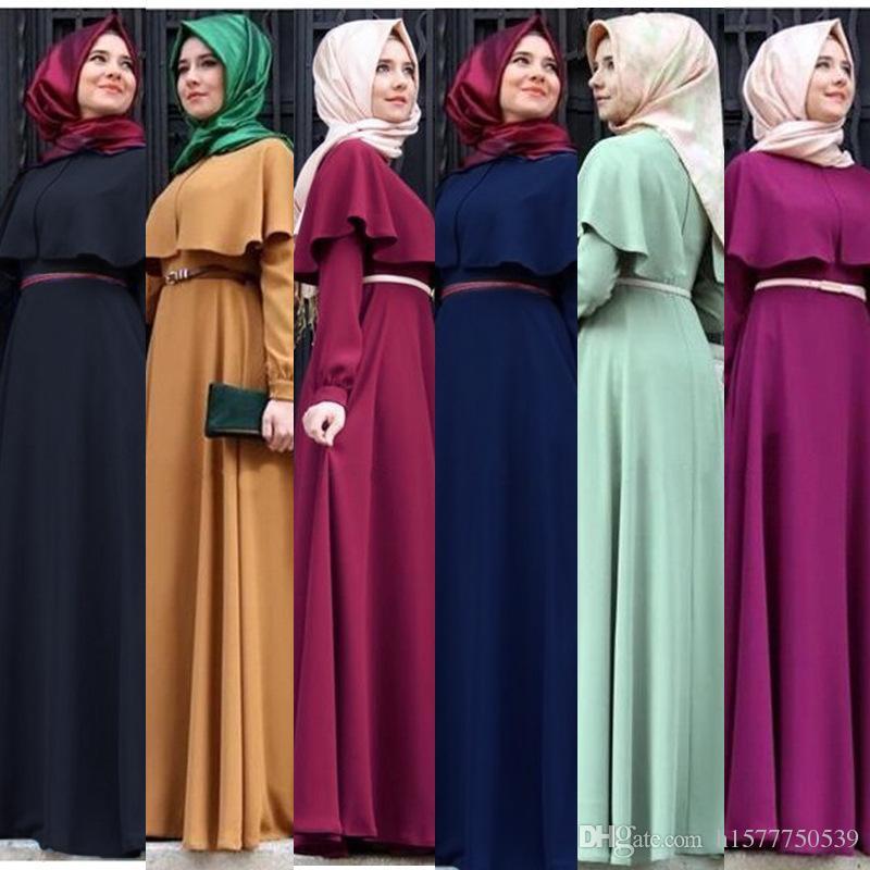 b33e00b71e28 2019 New Personality Cape Style Abaya Turkish Women Clothing Muslim Dress Islamic  Cocktail Ladies Long Sleeve Vintage Maxi Dresses Dubai Kaftan From ...