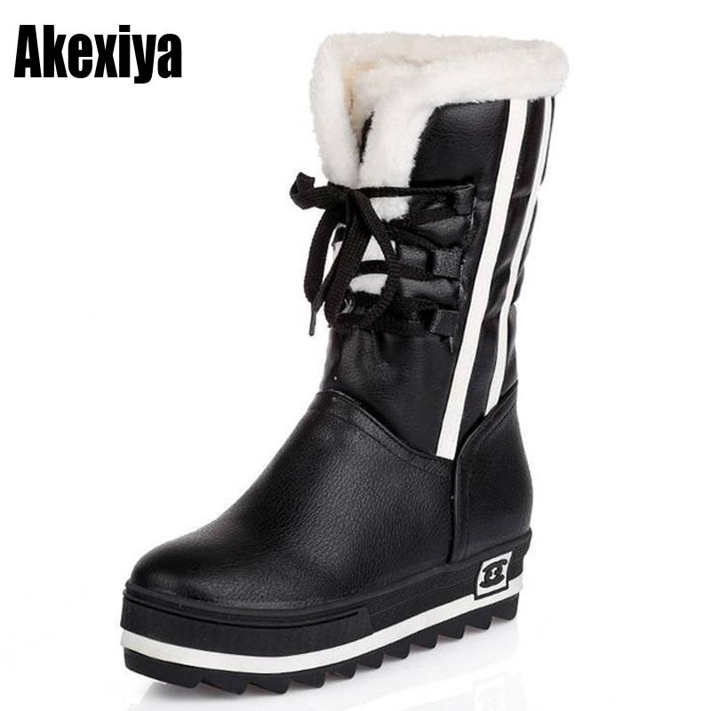 3a7301ca1a6 Compre Size34 43 2018 Zapatos Nuevos Para Mujer Botas Negras Plataformas A  Prueba De Agua Zapatos es Botas Para La Nieve De Invierno De Piel Completa  Para ...