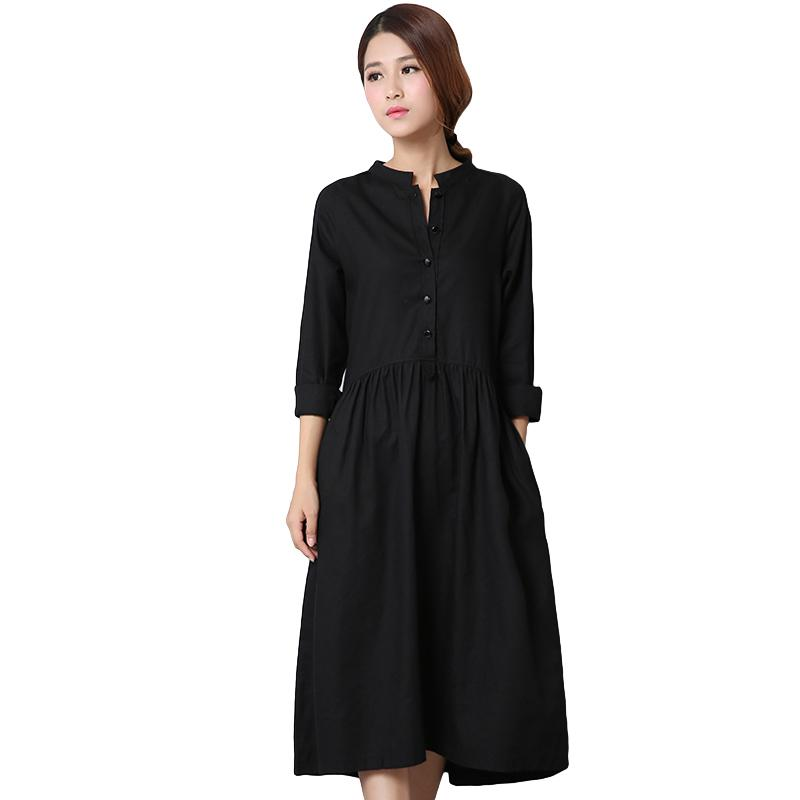3980b335f6 2019 2018 Fashion Women Cotton Linen Midi Dress Front Button Long Sleeve  Asymmetric Hem Solid Irregular Ladies Dress Black White From Clothfirst