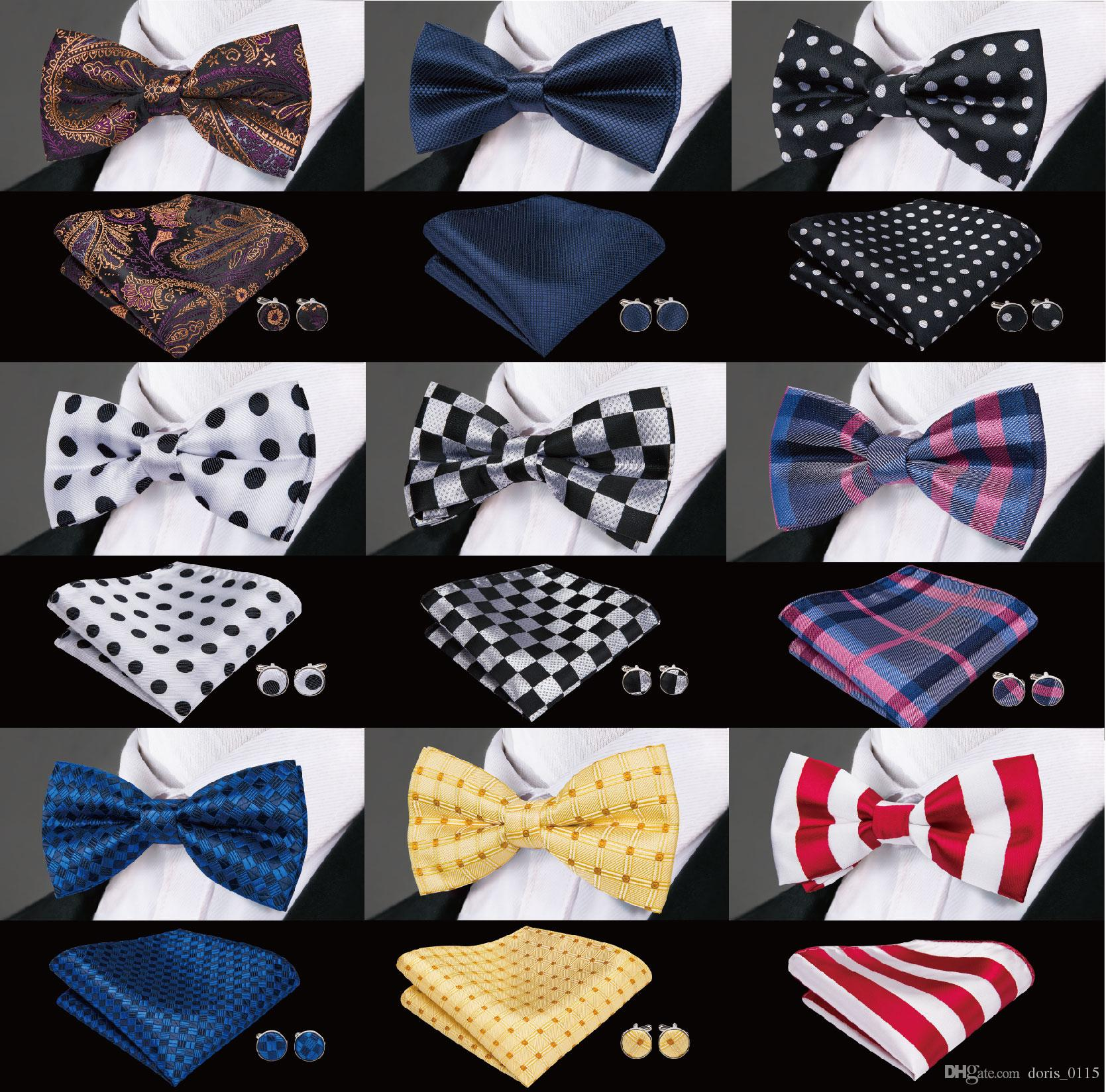 1b49f9396de8 2019 Mens Bow Tie Men Silk Bow Ties Designer For Men Classic Silk Hanky  Cufflinks Jacquard Woven Wholesale Weeding Business Party From Doris_0115,  ...