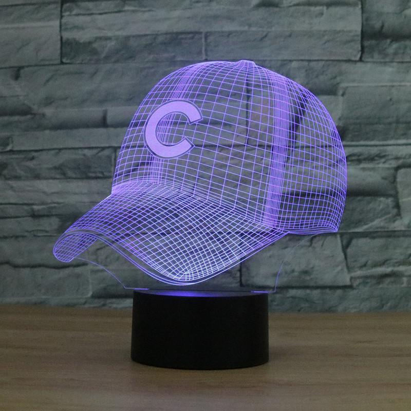 2019 3D Light Chicago Cubs Baseball Team Cap Hat Nightlight Led Desk Table  Lamp For Kids Sleeping Light Up Toy From Jinyucao bd50b8d8a93