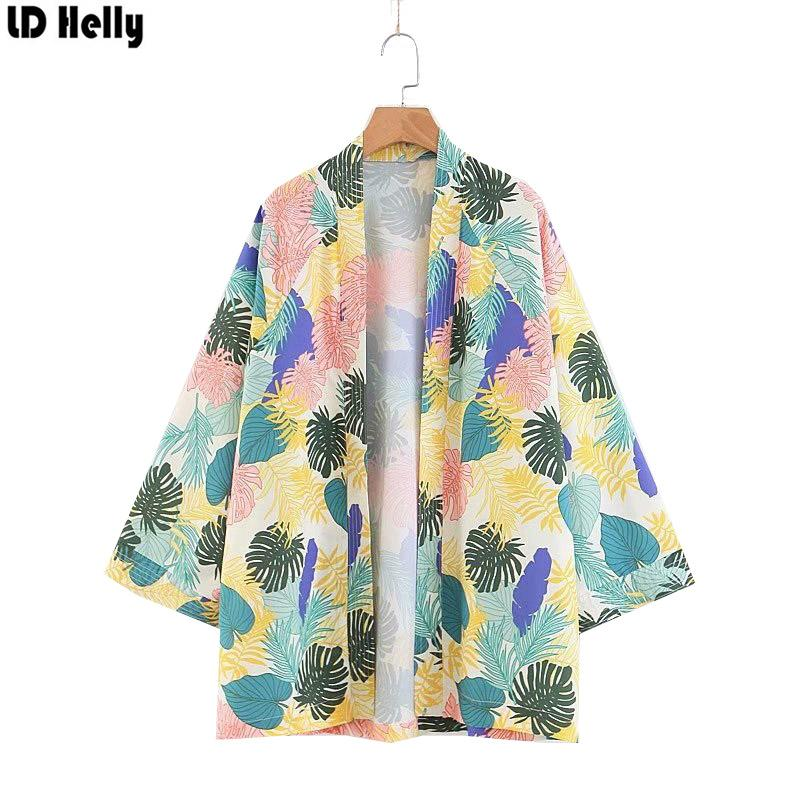 fe9ffb5f86 LD Helly Vintage 2018 Women Tropical Storm Pattern Printed Kimono Jacket  Coats Summer Loose Casual Outerwear Female Tops Blusas Womens Leather  Jacket Suede ...