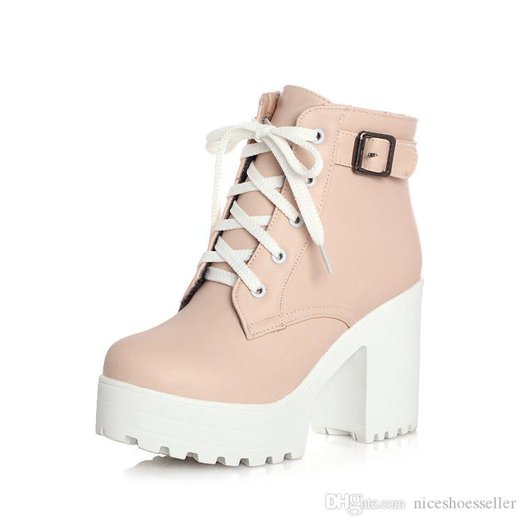 6ff14964277 New Hot Woman Ankle Boots Lace Up High Heels Punk Platform Women Autumn  Winter Martin Boots Ladies Shoes ADF-8625