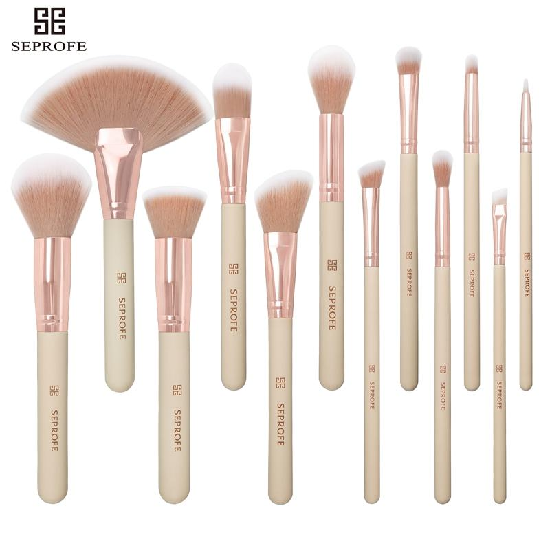 e3d9dc709f57 SEPROFE 12PCS Cheese Color Rose Gold Tube Makeup Brushes Foundation Powder  Contour Eyeshadow Eyebrow Traveling Makeup Brush Set
