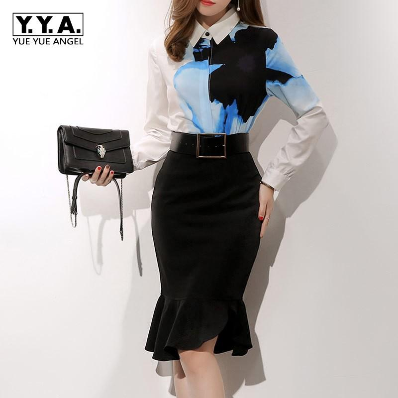 6417095fde68 2018 Sexy Slim Fit Knee Length Fishtail Skirt Printed White Blouse ...