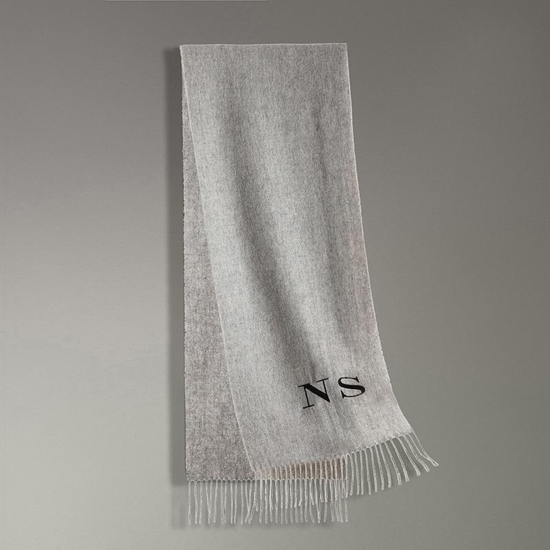 Black Thread Personalized Solid Tassel Women scarf Customized embroidery cashmere winter female lady pashmina girls scarf Y18102010