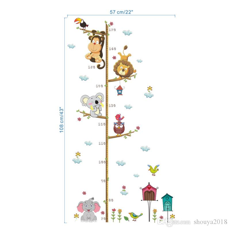 Animals Lion Monkey Owl Height Measure Wall Sticker For Kids Rooms Growth Chart Nursery Room Decor Wall Decals Art