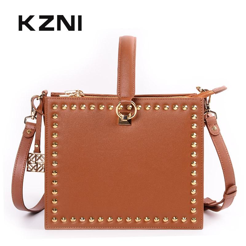 27efec721e KZNI Women Bag Genuine Leather Shoulder Strap Bag Small Luxury Ladies Purses  And Handbags Sac Femme Pochee 9062 9063 Evening Bags Handbag Sale From ...